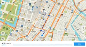 さらに下のメニューから「へのルート」をタップすると、GPSがオンの状態であれば、現在地からその施設までのルートを表示してくれます。
