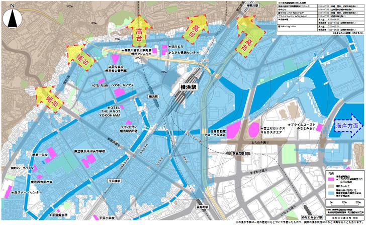 横浜市の公式サイトでは、「都市再生安全確保計画」で津波が来た際の避難誘導方向として、以下のようなPDFを配布しています。